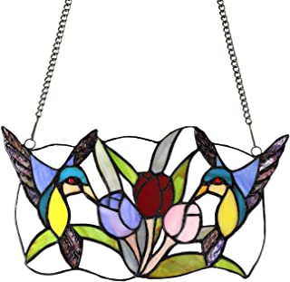MELUCEE Stained Glass Window Hangings Flower 13.4 Inches Wide with 33 Inches Chain