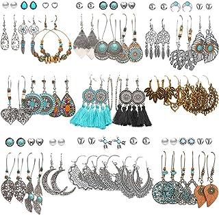 45 Pairs Fashion Hollow Drop Dangle Earrings Set for...
