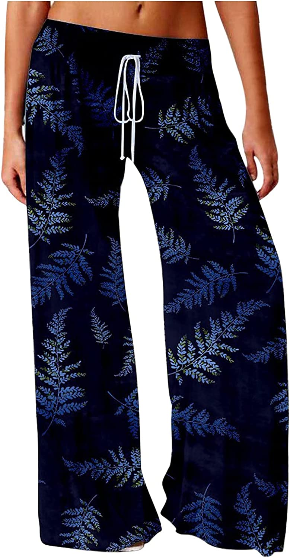aihihe Women's Pajama Pants Comfy Floral Print Wide Leg Palazzo Lounge Pants Drawstring Elastic Waist Long Pj Bottoms