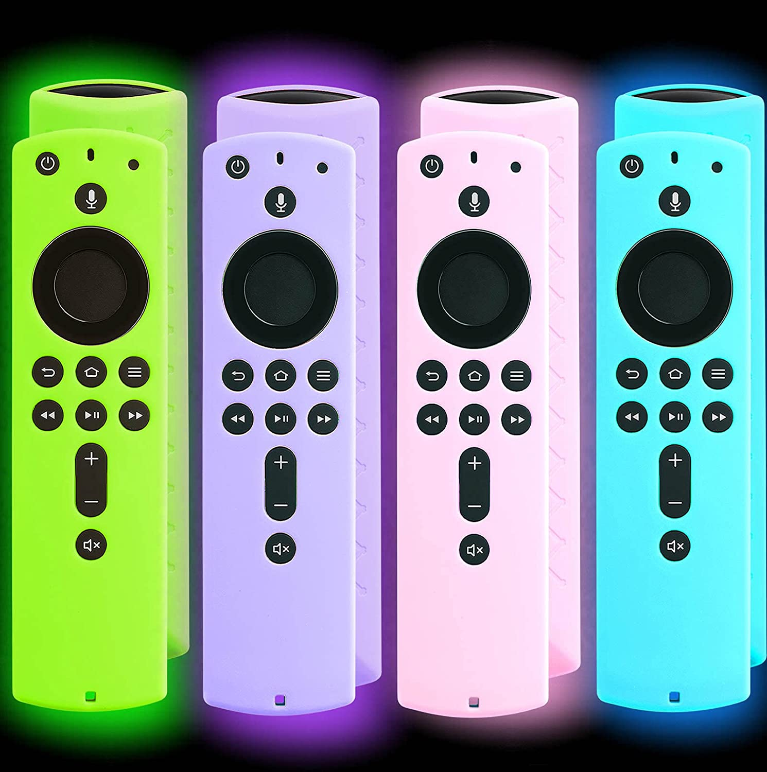 Packprint 4 Pack Firestick Cover Glow in The Dark Compatible with 2nd Generation 4K Amazon Fire Stick Remote, Firestickremote TV Remote Cover, for Fire Stick Remote Blue Green Pink Purple