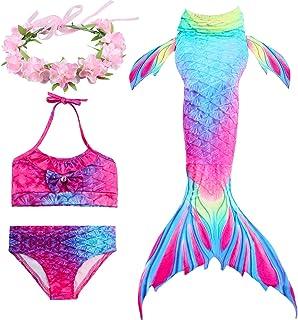 Paisdola Kids Girls Mermaid Swimming Costume Swimmable Bikini Swimsuit with Flower Garland Headband