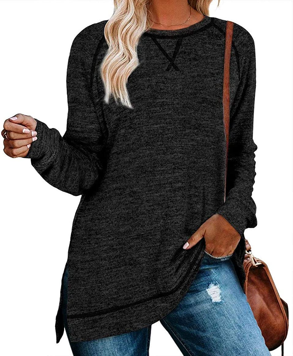 FEKOAFE Womens Casual Color Block Tunic Long Sleeve Tops Loose Fit Shirt