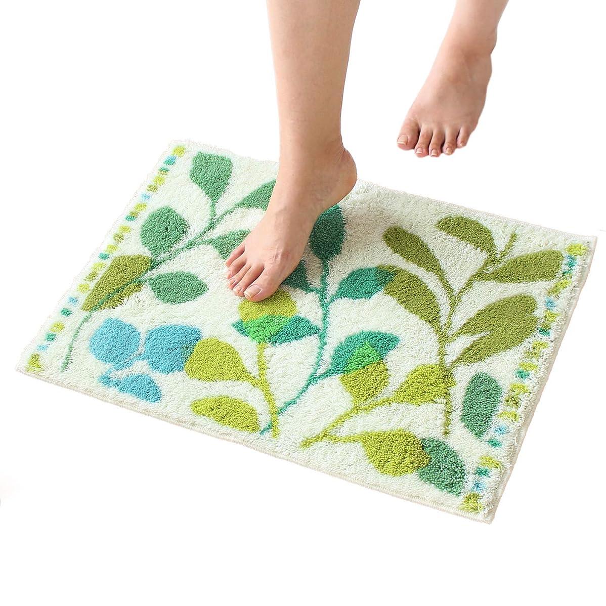 有効化必要としている商業のオカ バスマット プレミアム ウィルトン織り 乾度良好 フィーユ 約40×55cm グリーン 吸水 抗菌 防臭