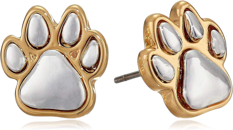 Pet Friends Women's Twotone Paw Stud Earrings