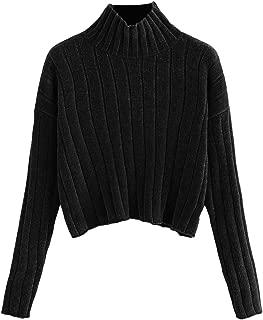 SheIn Women's High Neck Drop Shoulder Raw Hem Crop Sweater Pullovers