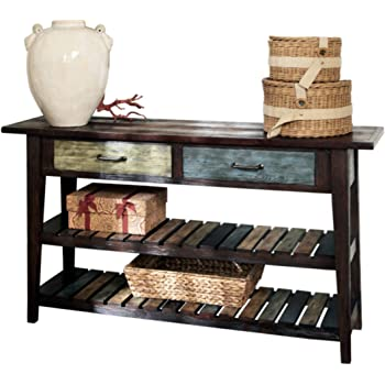 Signature Design by Ashley - Mestler Rustic Console Table, Brown with Multi Colored Shelves