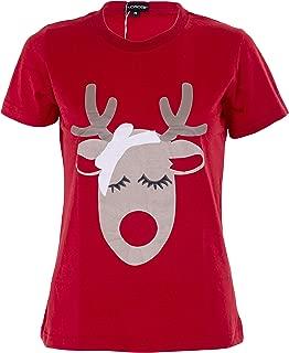 NOROZE Womens Cotton Chritmas T-Shirt Novelty Reindeer Elf Top