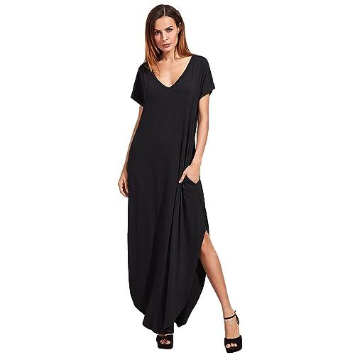9cf3a27b41d Verdusa Women's V Neck Side Pockets Split Hem Beach Long Maxi Dress