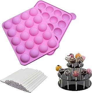 20 Cavités Moule Pop Cake + 220 Bâton, Moulle Cake Pop Silicone Pour Faire Bonbon Cupcake Gâteaux Pâtisserie Sucette