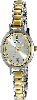 ساعة كاريشما من تيتان بنظام عرض انالوج ومينا بلون ذهبي فاتح للنساء