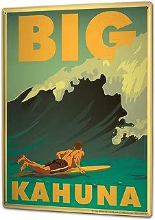 Retro Big Kahuna Surfboard Surfer Wave Decorative Metal Sign for Road Tin Art Wall Decor Aluminum Sign