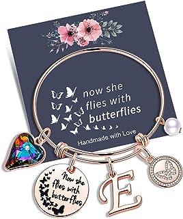 يوستيل مجوهرات تذكارية هدية التعاطف ، الآن إنها تطير مع الفراشات هدايا الفراشات سوار سحر أساور للنساء الفتيات فقدان هدية الأم