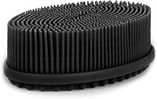 Heeta Body Brush for Wet and Dry Brushing, Silicone Bath Brush for Gentle Exfoliating on Softer, Glowing Skin, Gentle Massage with Bath and Body Brush to Improve Your Blood Circulation (Black)
