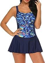 Ekouaer Swim Dress One Piece Bathing Suit Skirted Swimsuits for Women Ruched Retro Swimwear S-XXL