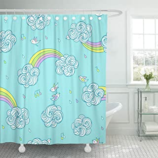 Ashleyallen Shower Curtains Sweet Little Birds are Singing and Flying in The Sky Above Curly Clouds and Rainbows Under Colored Rain Shower Curtain 60 x 72 Inches Shower Curtain with Plastic Hooks