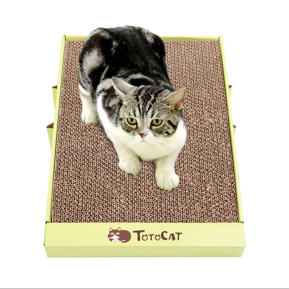 Kuoser - Rascador plegable para gatos, diseño de gatito inclinado reversible de entrenamiento de cartón corrugado, protector para muebles, sofá, suelo de gato, rampa de juguete: Amazon.es: Productos para mascotas