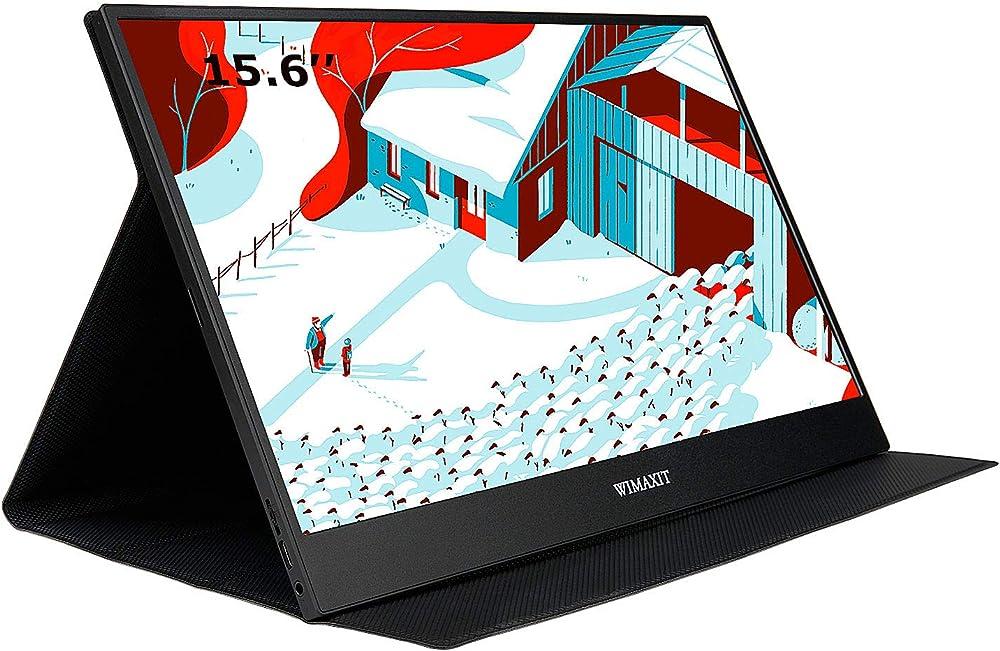 Wimaxit monitor portatile da 15,6 pollici, usb-c gaming monitor typ-c con mini hdmi e altoparlante M1562C