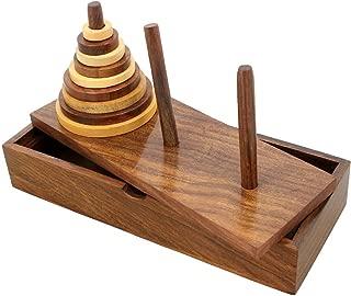 SKAVIJ Wooden 9-Rings Tower of Hanoi Puzzle Game Handmade (Brown)