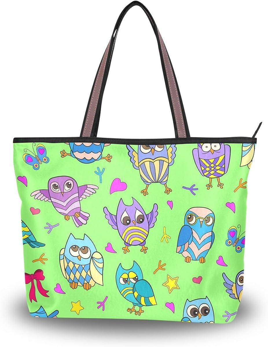 JSTEL Women Large Tote Top Handle Shoulder Bags Owls Patern Ladies Handbag