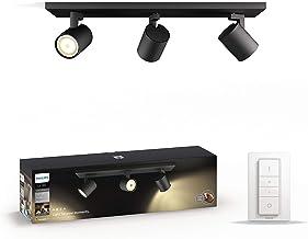 White Ambiance Runner 5.5 W GU10 Triple Spot Bar Ceiling Light Kit, 3 x 5.5 W Hue White Ambiance Perfect Fit GU10 Bulbs, 1...