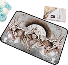 HCCJLCKS Door mat Dragon Monk Witch on Tree Branches Background Gothic Medieval Magic Artistic Graphic for porches W24 xL47