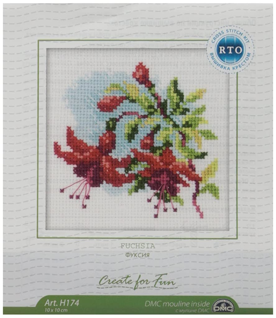 RTO H174 14 Count Counted Cross Stitch Kit, 4 by 4-Inch, Fuchsia