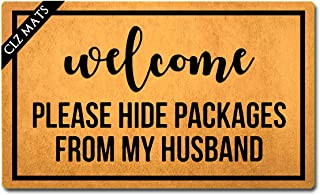 CLZ mats Welcome Mats Welcome Please Hide Packages from My Husband Doormat Monograms Funny Welcome Mats for Entrance Way Anti-Slip Rubber Doormats for Front Door Kitchen Rugs and Mats 18