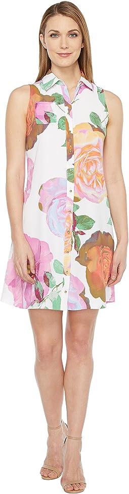 Floral Button Front Trapiz Dress