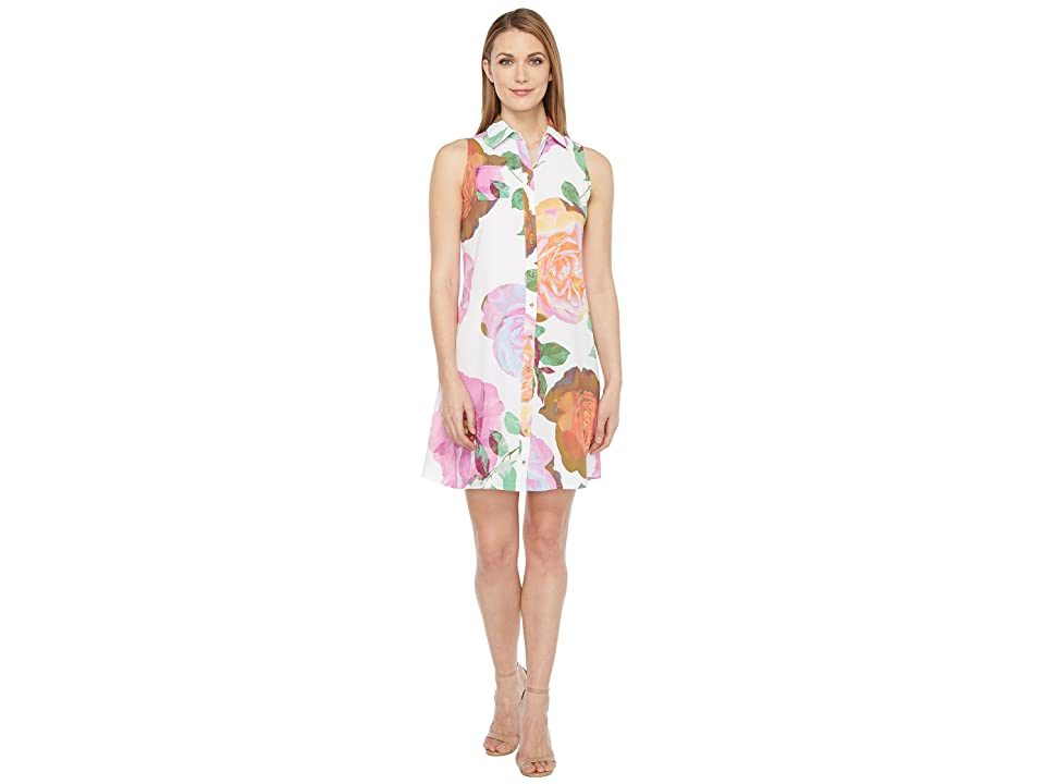 Calvin Klein Floral Button Front Trapiz Dress (Pink Multi) Women