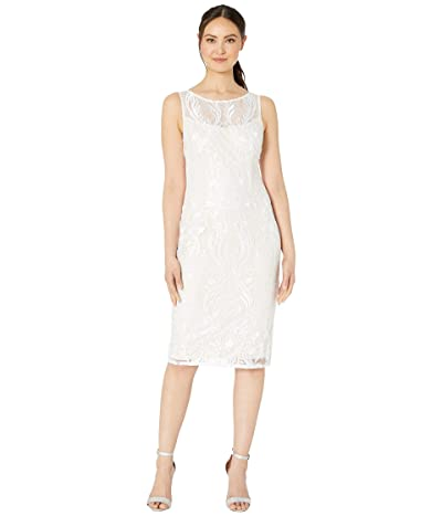 Adrianna Papell Illusion Embroidered Chantilly Lace Cocktail Dress (Ivory) Women