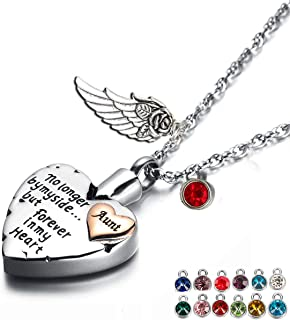 Heart Cremation Urn Necklace for Ashes Angel Wing Jewelry Memorial Pendant and 12 PCS Birthstones No Longer by My Side But Forever in My Heart