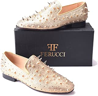 1a6cd6d0b6b0 FERUCCI Men Gold Spikes Slippers Loafers Flat with Crystal GZ Rhinestone
