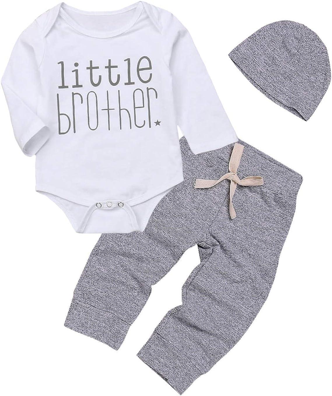 3Pcs Baby Boy Clothes Newborn Infant Bodysuit Cotton Long Sleeve Romper +Pants+Hat Outfits Set