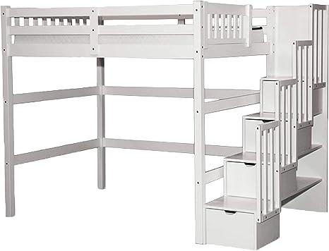 Stairway Full Loft Bed With Storage White Amazon Ca Home Kitchen