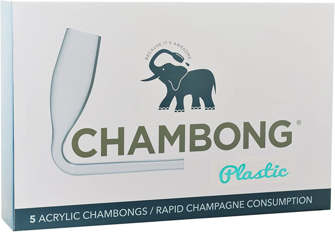 Chambong Plastic Champagne Shooters Champagne Bong Champagne Accessories Prosecco Glasses Bachelorette Party Favors Bridesmaids Gifts Prosecco Gifts 6 Oz 5 Pack