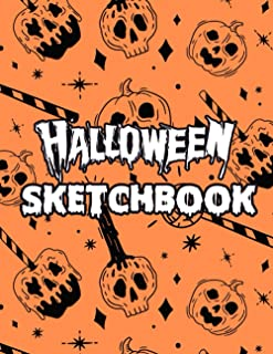 halloween sketchbook: Halloween featuring various candy, candles and carved pumpkins sketchbook for Pencil Drawings, cemet...