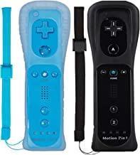 Wii Remote Controller (2 Pack) with Motion Plus Compatible with Wii and Wii U Console | Wii Remote Controller with Shock Function (Black+Blue)