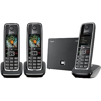 Gigaset C530 IP Trio Téléphone sans Fil DECT Hybride 3 Combinés Noir