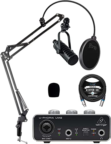 discount MXL BCD-1 Dynamic Mic for Podcasting and Vocal Recording Bundle with Behringer U-PHORIA UM2 USB Audio Interface discount for Windows and outlet sale Mac, Blucoil 10-FT Balanced XLR Cable and Boom Arm Plus Pop Filter online
