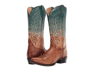 Roper Chandler Snip (Tan/Turquoise Dip-Dye Leather) Cowboy Boots