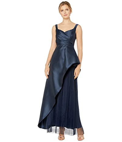 Adrianna Papell Mikado Evening Gown with Pleats (Midnight) Women
