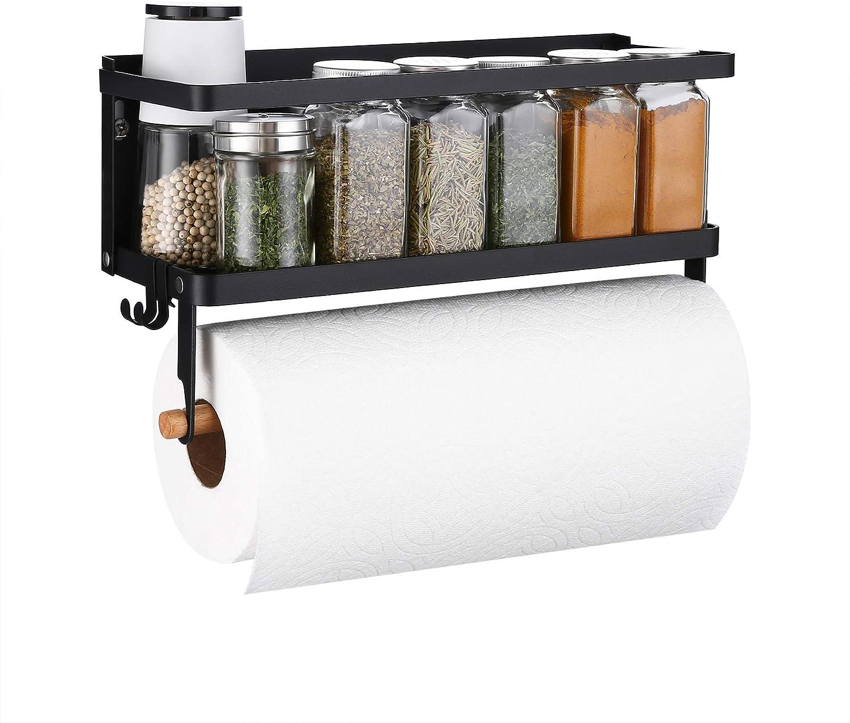 Safety and trust KES Magnetic Rare Paper Towel Holder Matt Refrigerator for Magn Black