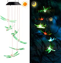 YUKOOL Solar Wind Chimes, Hanging String Lights, Green Dragonflies Solar Mobiles Used As Decorative Mobiles in Garden, Yard, Patio