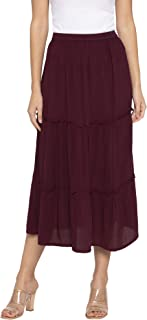 Globus Burgundy Solid Skirts