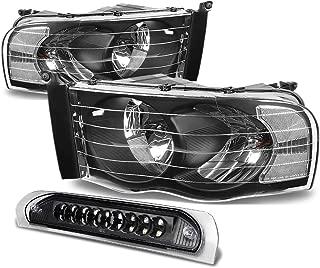 For Dodge Ram Black Housing Headlight+Black Lens LED 3rd Brake Light - 3rd Gen DR/DH/D1/DC/DM