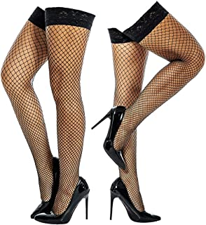 2 Pair Fishnet Stockings Thigh high Stay Up Nylon