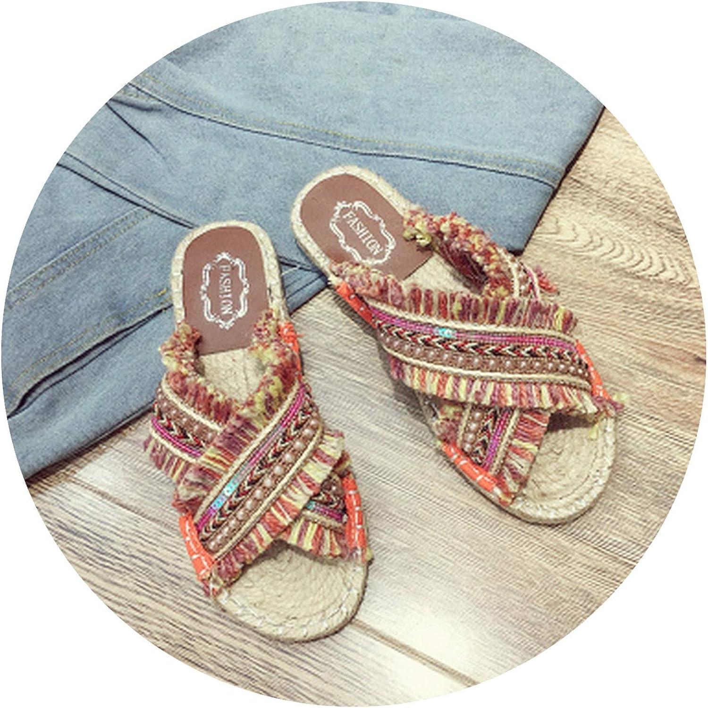 Bohemia Style Vintage Women Summer Slippers Beaded Straw Woven Female Fisherman shoes Fashion Slippers Flat Heel 35-40