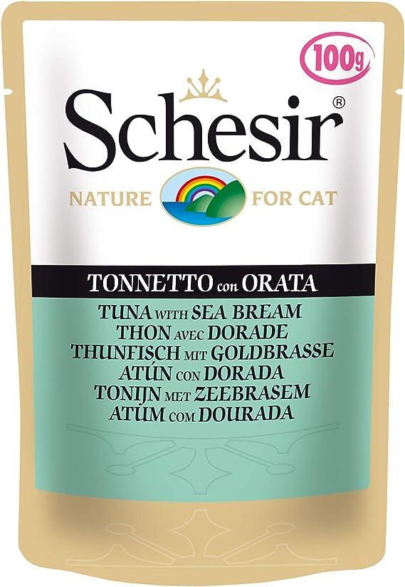 Schesir, Comida húmeda para Gatos Adultos, Sabor filetes de Pollo con jamón en gelatina Blanda - Total 2 kg (20 Sobres x 100 gr)