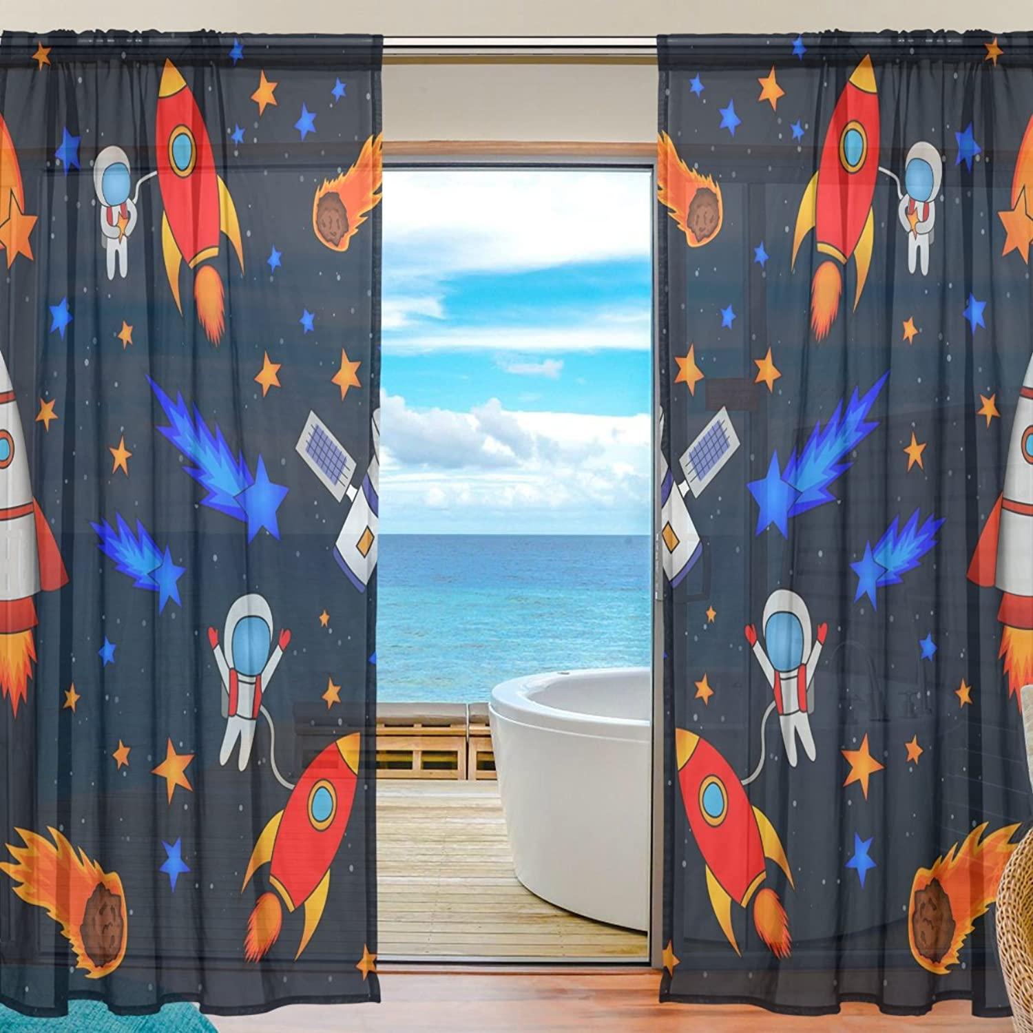 Vantaso Sheer Curtains 78 inch Long Space Planets Stars Spaceman Astronaut for Kids Girls Bedroom Living Room Window Decorative 2 Panels