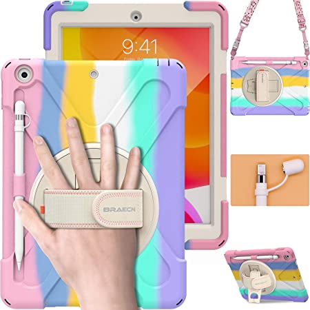 BRAECN iPad Case 8th Generation 10.2 Inch, Heavy Duty Kids Case with Pencil Holder Screen Protector Pencil Cap Holder Hand Strap Carrying Strap Kickstand for iPad 8th 7th Gen 10.2 2020 2019 -Rainbow